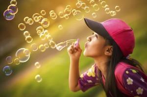 Blowing a soap bubbles